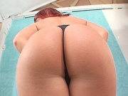 Katja gives head while modeling off her perfect round ass