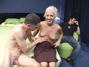 Blonde slut has her pussy eaten out by a stranger while her man watches
